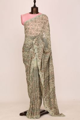 Sage Green Thread Embroidered Georgette Saree-PI2976