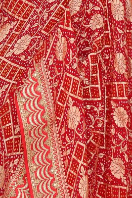 Cherry Red Zari Woven Bandhani Saree-PI3018