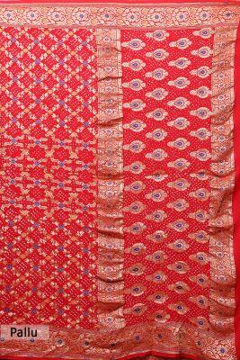 Chilli Red Zari Woven Bandhani Saree-PI3020
