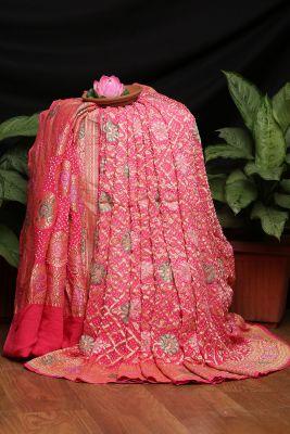 Coral Pink Zari Woven Bandhani Saree-PI3021