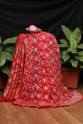 Cherry Red Zari Woven Bandhani Saree-PI3022