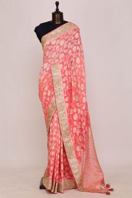 Coral Pink Zari Woven Georgette Saree-PI3027