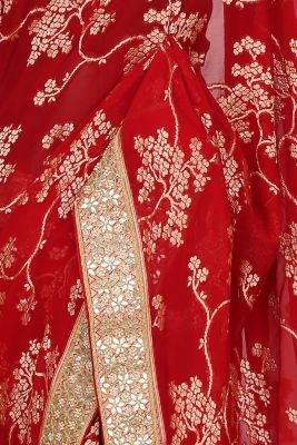 Cherry Red Zari Woven Georgette Saree-PI3028