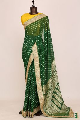 Emerald Green Zari Woven Georgette Saree-PI3030