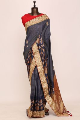 Space Blue Gota Embroidered Tussar Silk Saree-PI3032