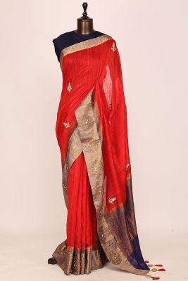 Candy Red Gota Embroidered Tussar Silk Saree-PI3034
