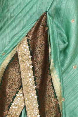 Ocean Green Gota Embroidered Tussar Silk Saree-PI3035