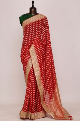 Cherry Red Zari woven Georgette Saree-PI3038