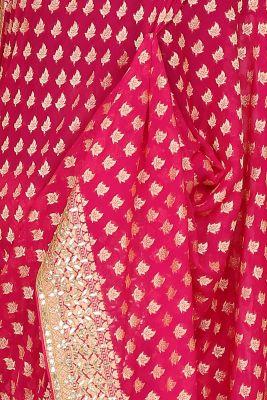 Fuchsia pInk Zari woven Georgette Saree-PI3040