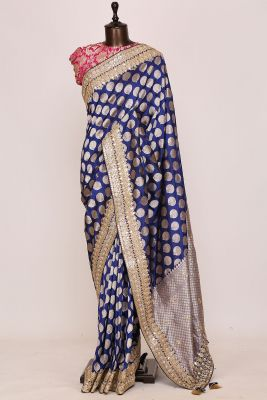 Navy Blue Zari woven Silk Saree-PI3051