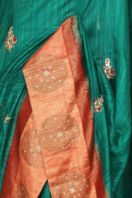 Jade Green Gota Embroidered Tussar Silk Saree-PI3052