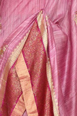 Onion Pink Gota Embroidered Tussar Silk Saree-PI3057