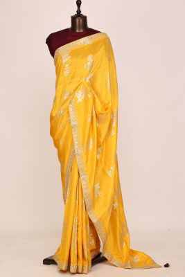 Cyber Yellow Gota Embroidered Tussar Silk Saree-PI3058
