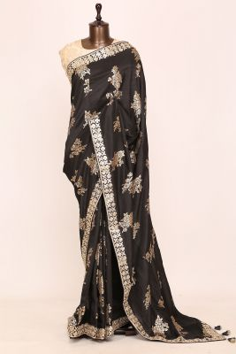 Black Gota Embroidered Tussar Silk Saree-PI3060