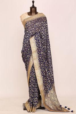Violet Gota Embroidered Georgette Saree-PI3066
