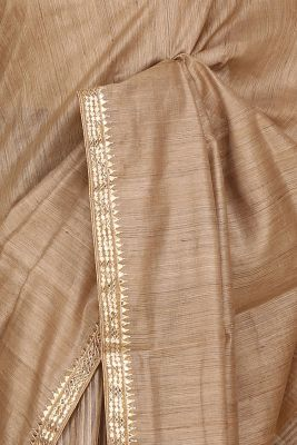 Tan Brown Gota Embroidered Silk Saree-PI3071