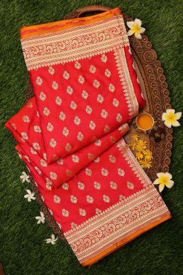 Orange & Pink Dual Tone Zari Woven Banarasi Silk Saree-PI3096