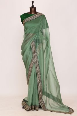 Pickle Green Sequins Embroidered Organza Saree-PI3099
