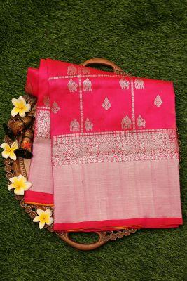 Pink & Orange Dual Tone Zari Woven Uppada Silk Saree-PI3120