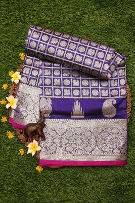 Indigo Zari Woven Uppada Silk Saree-PI3121
