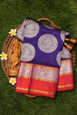 Indigo Zari Woven Uppada Silk Saree-PI3125