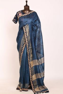 Peacock Blue Dori Embroidered Tussar Silk Saree-PI3162