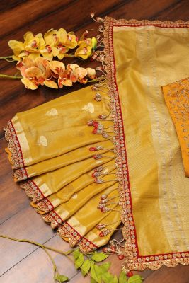 Mustard Yellow Zari Woven Tissue Saree-PI3168