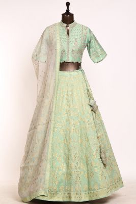 Paris Green Dori Embroidered Silk Designer Lehenga-PI3466