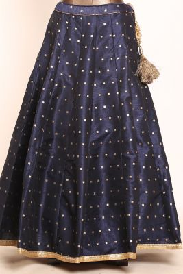Indigo Blue Sequins Embroidered Silk Designer Lehenga-PI3702