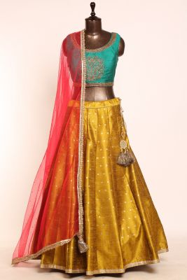 Mehendi Green Sequins Embroidered Silk Designer Lehenga-PI3703
