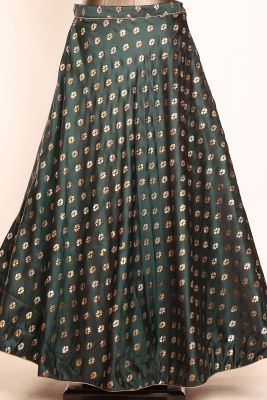 Dark Green Cutdana Embroidered Silk Designer Lehenga-PI3718