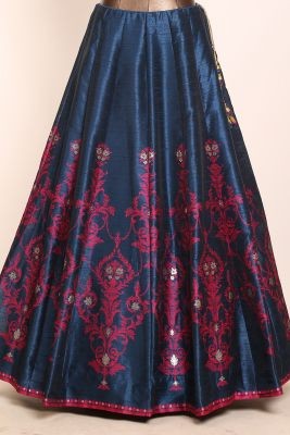 Navy Blue Gota Embroidered Silk Designer Lehenga-PI3719