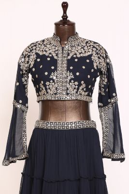 Midnight Blue Abla Embroidered Georgette Designer Lehenga-PJ1241