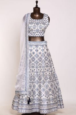 White Stone Embroidered Silk Designer Lehenga-PJ1246