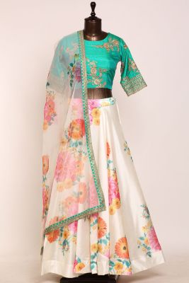 Off-White Printed Raw Silk Designer Lehenga-PJ1247