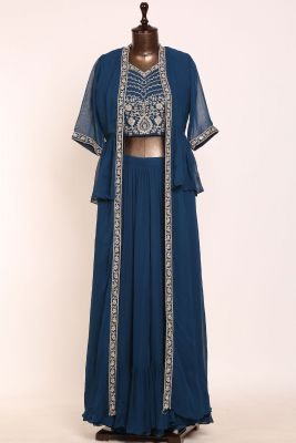 Oxford Blue Stone Embroidered Georgette Designer Lehenga-PJ1250