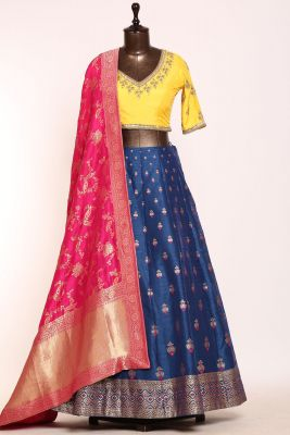 Navy Blue Gota Embroidered Silk Designer Lehenga-PJ1463