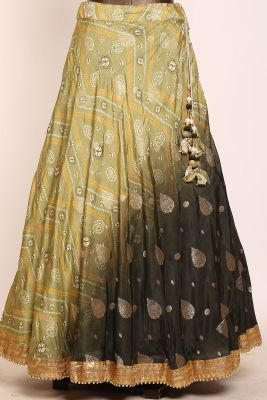 Shaded Green Printed Silk Designer Lehenga-PJ1557