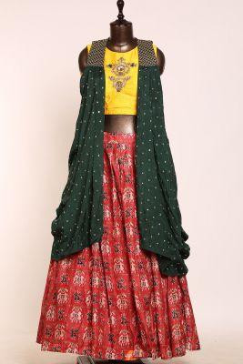 Fire Red Sequins Embroidered Silk Designer Lehenga-PJ1558