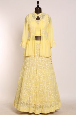 Light Yellow Thread Embroidered Georgette Designer Lehenga-PJ1566