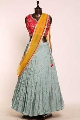 Eton Blue Mirror Embroidered Silk Designer Lehenga-PJ1573