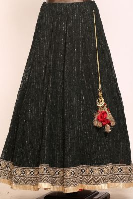 Black Zardosi Embroidered Georgette Designer Lehenga-PJ1574