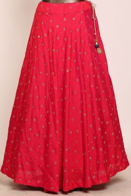 Pink Dual Shaded Mirror Embroidered Silk Designer Lehenga-PJ1580