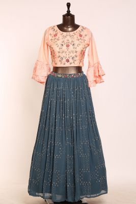 Airforce Blue Mirror Embroidered Georgette Designer Lehenga-PJ1581