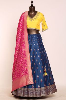 Indigo Blue Gota Embroidered Silk Designer Lehenga-PJ1869