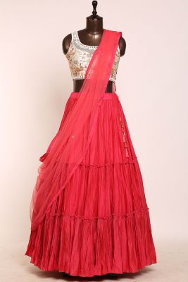 Ruby Pink Zari Embroidered Cotton Silk Designer Lehenga-PJ1894