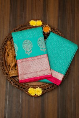 Light Sea Green Zari Woven Kanchipuram Silk Saree-PJ1908
