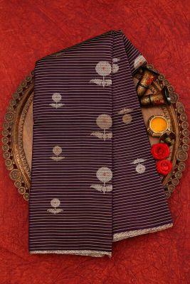 Indigo & Black Dual Tone Zari Woven Kanchipuram Silk Saree-PJ1909