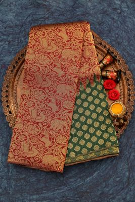 Maroon & Green Zari Woven Kanchipuram Silk Saree-PJ1912