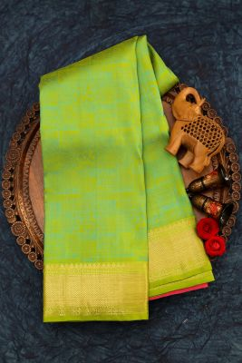 Spring Green Zari Woven Kanchipuram Silk Saree-PJ1914
